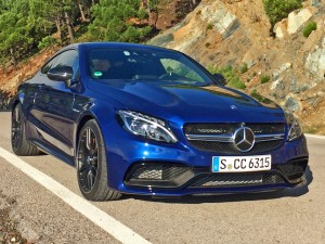 C-Class Coupe - Blue - Front and side Driving