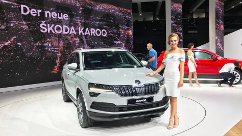 Premiere of the new SUV Skoda Karoq at the IAA 2017 in Frankfurt. Image: Skoda / http://quickcarreview.com